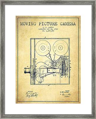 1920 Moving Picture Camera Patent - Vintage Framed Print by Aged Pixel