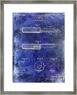 1920 Paring Knife Patent Blue Framed Print