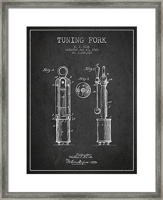 1920 Tuning Fork Patent - Charcoal Framed Print