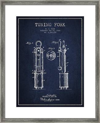 1920 Tuning Fork Patent - Navy Blue Framed Print