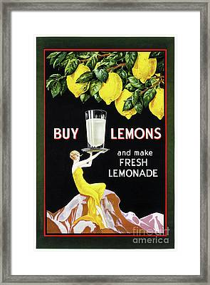 1920 Vintage Grocery Lemonade Poster Restored Framed Print