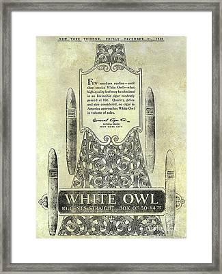 1920 White Owl Cigar Advertisement Framed Print