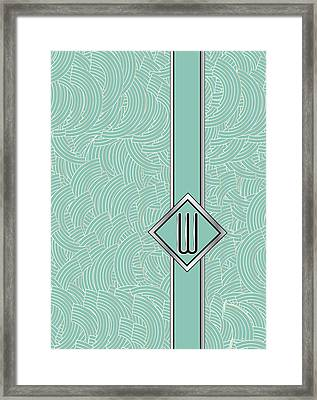 1920s Blue Deco Jazz Swing Monogram ...letter W Framed Print