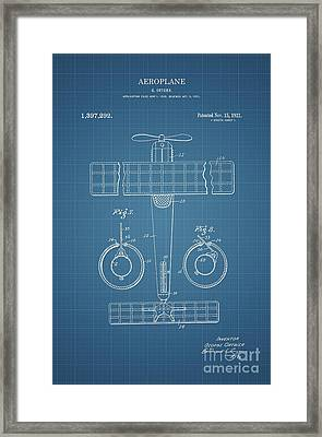 1921 Aeroplane Patent Art Ortgier 2 Framed Print by Nishanth Gopinathan