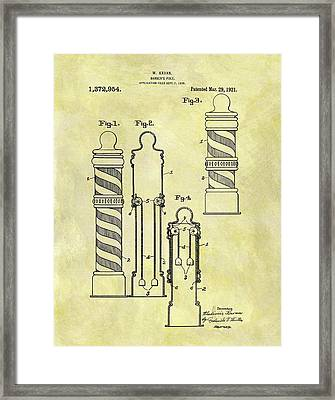 1921 Barber Pole Patent Framed Print by Dan Sproul