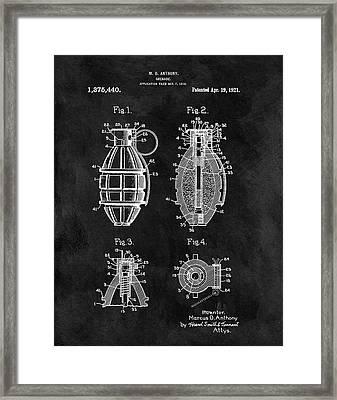 1921 Hand Grenade Patent Illustration Framed Print