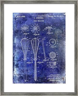 1922 Egg Beater Patent Blue Framed Print