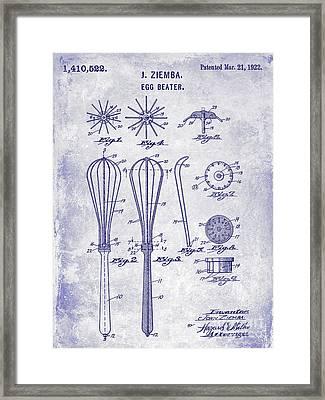 1922 Egg Beater Patent Blueprint  Framed Print