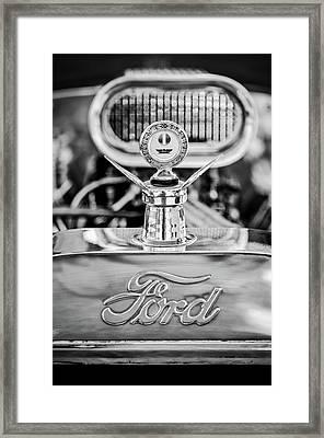 1922 Ford T-bucket Hood Ornament - Emblem -0630bw Framed Print by Jill Reger