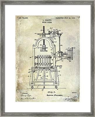 1922 Wine Press Patent Framed Print