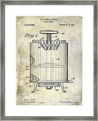 1922 Wine Presspatent  Framed Print
