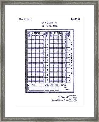 1923 Golf Score Card Patent Blueprint Framed Print by Jon Neidert