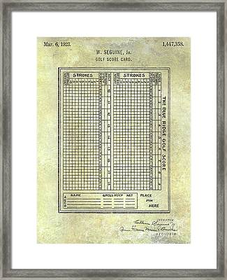1923 Golf Score Card Patent Framed Print by Jon Neidert