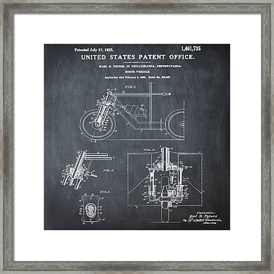 1923 Motorcycle Patent In Chalk Framed Print