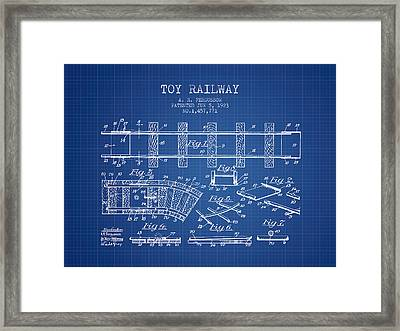 1923 Toy Railway Patent - Blueprint Framed Print by Aged Pixel