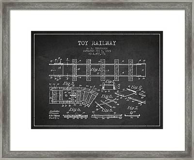1923 Toy Railway Patent - Charcoal Framed Print by Aged Pixel