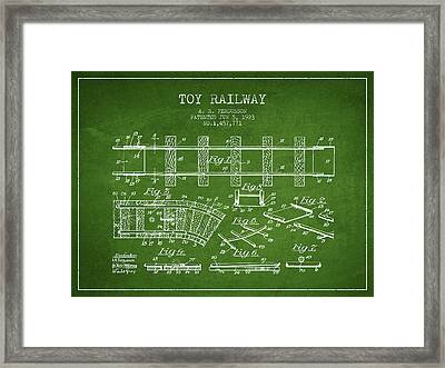 1923 Toy Railway Patent - Green Framed Print by Aged Pixel