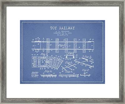 1923 Toy Railway Patent - Light Blue Framed Print by Aged Pixel