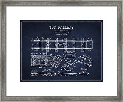 1923 Toy Railway Patent - Navy Blue Framed Print by Aged Pixel