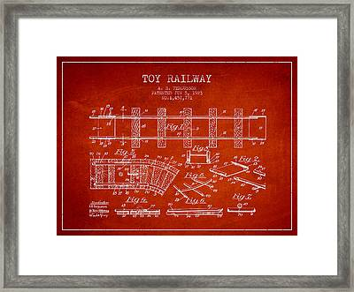 1923 Toy Railway Patent - Red Framed Print by Aged Pixel