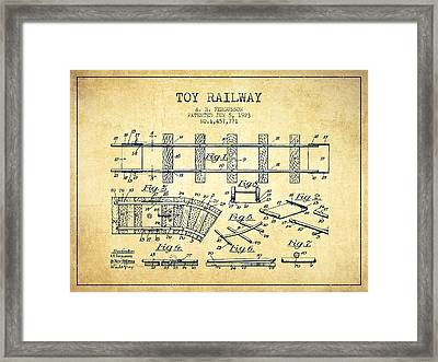 1923 Toy Railway Patent - Vintage Framed Print by Aged Pixel