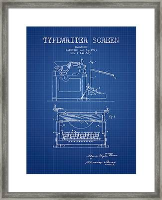 1923 Typewriter Screen Patent - Blueprint Framed Print