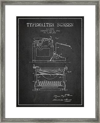 1923 Typewriter Screen Patent - Charcoal Framed Print