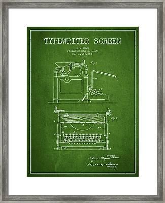 1923 Typewriter Screen Patent - Green Framed Print