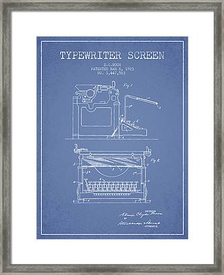 1923 Typewriter Screen Patent - Light Blue Framed Print