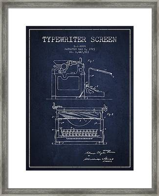 1923 Typewriter Screen Patent - Navy Blue Framed Print