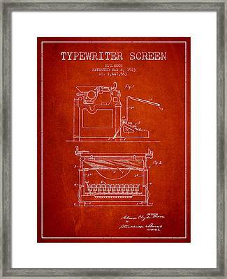 1923 Typewriter Screen Patent - Red Framed Print