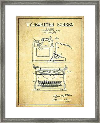 1923 Typewriter Screen Patent - Vintage Framed Print