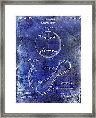 1924 Baseball Patent Blue Framed Print by Jon Neidert