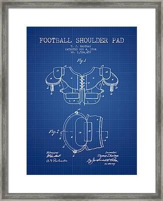 1924 Football Shoulder Pad Patent - Blueprint Framed Print