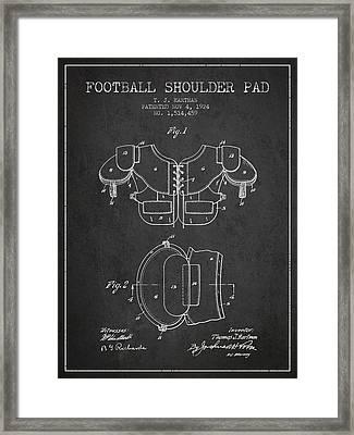 1924 Football Shoulder Pad Patent - Charcoal Framed Print