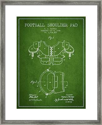 1924 Football Shoulder Pad Patent - Green Framed Print by Aged Pixel