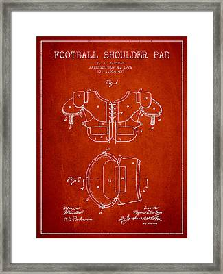 1924 Football Shoulder Pad Patent - Red Framed Print by Aged Pixel