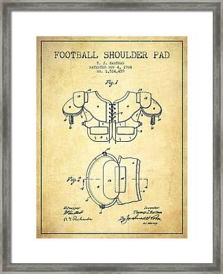 1924 Football Shoulder Pad Patent - Vintage Framed Print