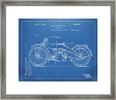 1924 Harley Motorcycle Patent Artwork Blueprint Framed Print by Nikki Marie Smith