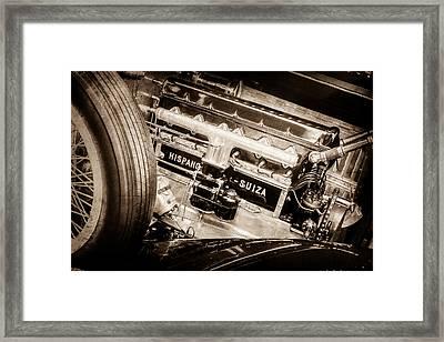 1924 Hispano-suiza H6b Dual  Cowl Sport Phaeton Engine Emblem -0258s Framed Print