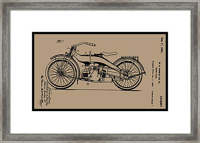 1924 Motorcycle Patent Drawing Framed Print by W S Harley