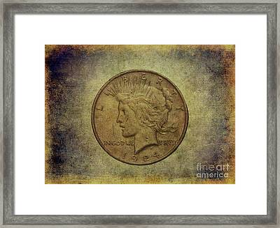 Framed Print featuring the digital art 1924 Peace Silver Dollar by Randy Steele