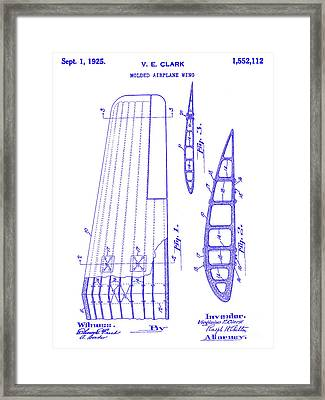 1925 Airplane Wing Patent Blueprint Framed Print by Jon Neidert
