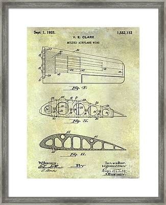1925 Airplane Wing Patent Framed Print by Jon Neidert