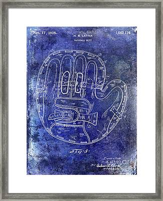 1925 Baseball Glove Patent Blue Framed Print by Jon Neidert