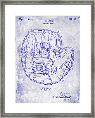 1925 Baseball Glove Patent Blueprint Framed Print by Jon Neidert