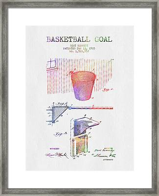 1925 Basketball Goal Patent - Color Framed Print by Aged Pixel