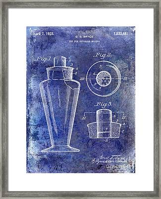 1925 Cocktail Shaker Patent Blue Framed Print by Jon Neidert