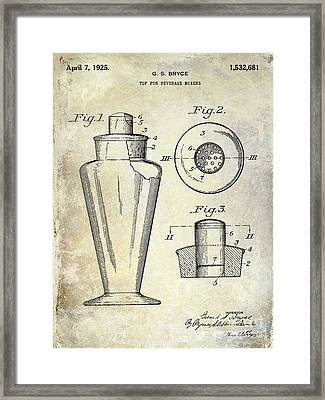 1925 Cocktail Shaker Patent  Framed Print by Jon Neidert