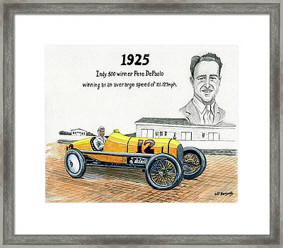 1925 Indy 500 Winner Pete Depaolo Framed Print by Jeff Blazejovsky